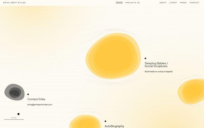 Screenshot of Erika Senft Miller. Multi-sensory conceptual artist.