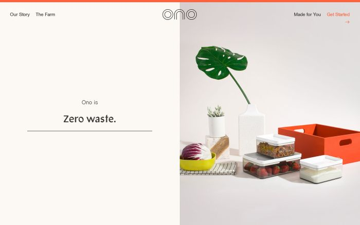 Screenshot of Ono website