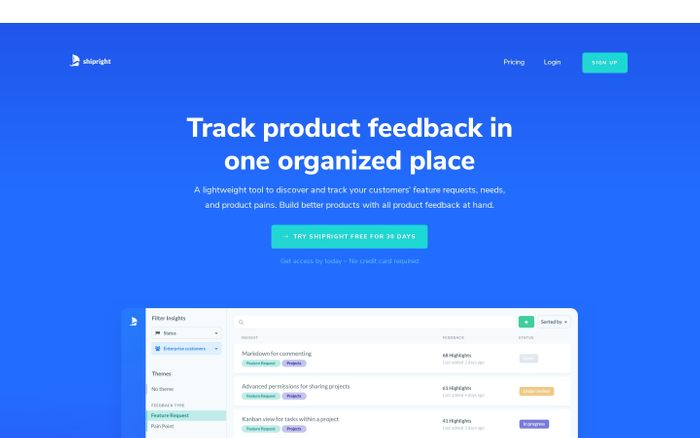 Screenshot of Shipright – Track product feedback in one organized place
