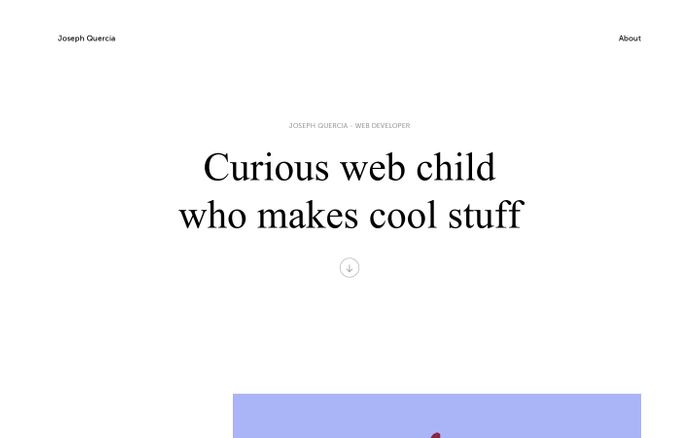 Screenshot of Joseph Quercia — web developer