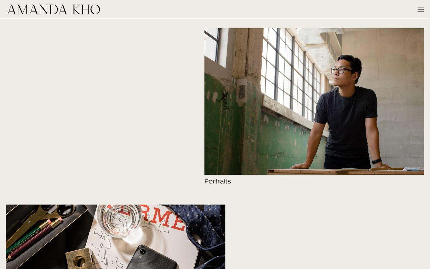 Screenshot of Amanda Kho website