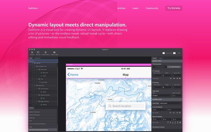 Screenshot of Subform   Dynamic layout meets direct manipulation