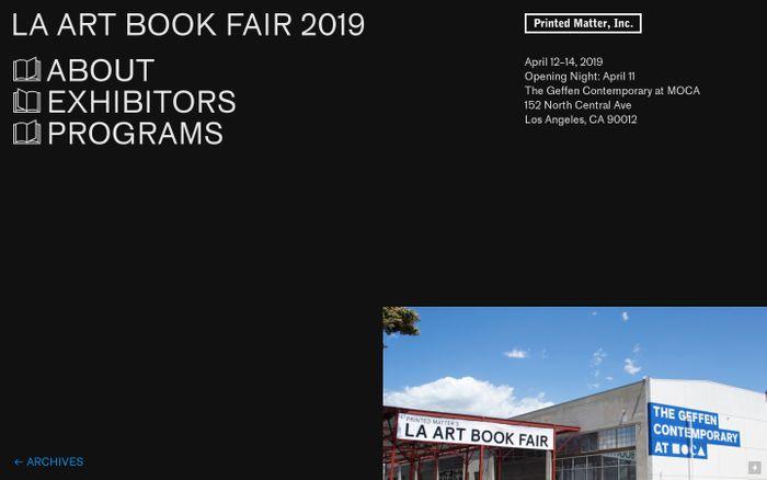 Screenshot of Printed Matter's Los Angeles Art Book Fair 2019