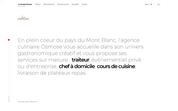 Screenshot of Accueil | Osmose, agence culinaire
