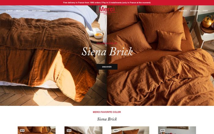 Screenshot of Merci website