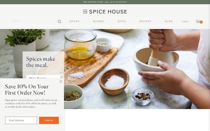 Screenshot of The Spice House website