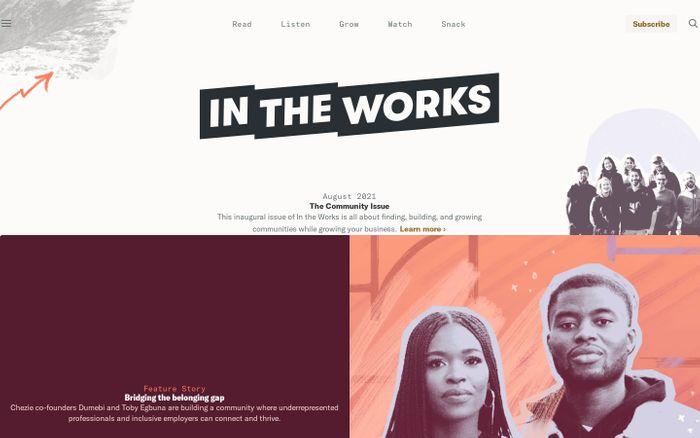 Screenshot of In the Works website