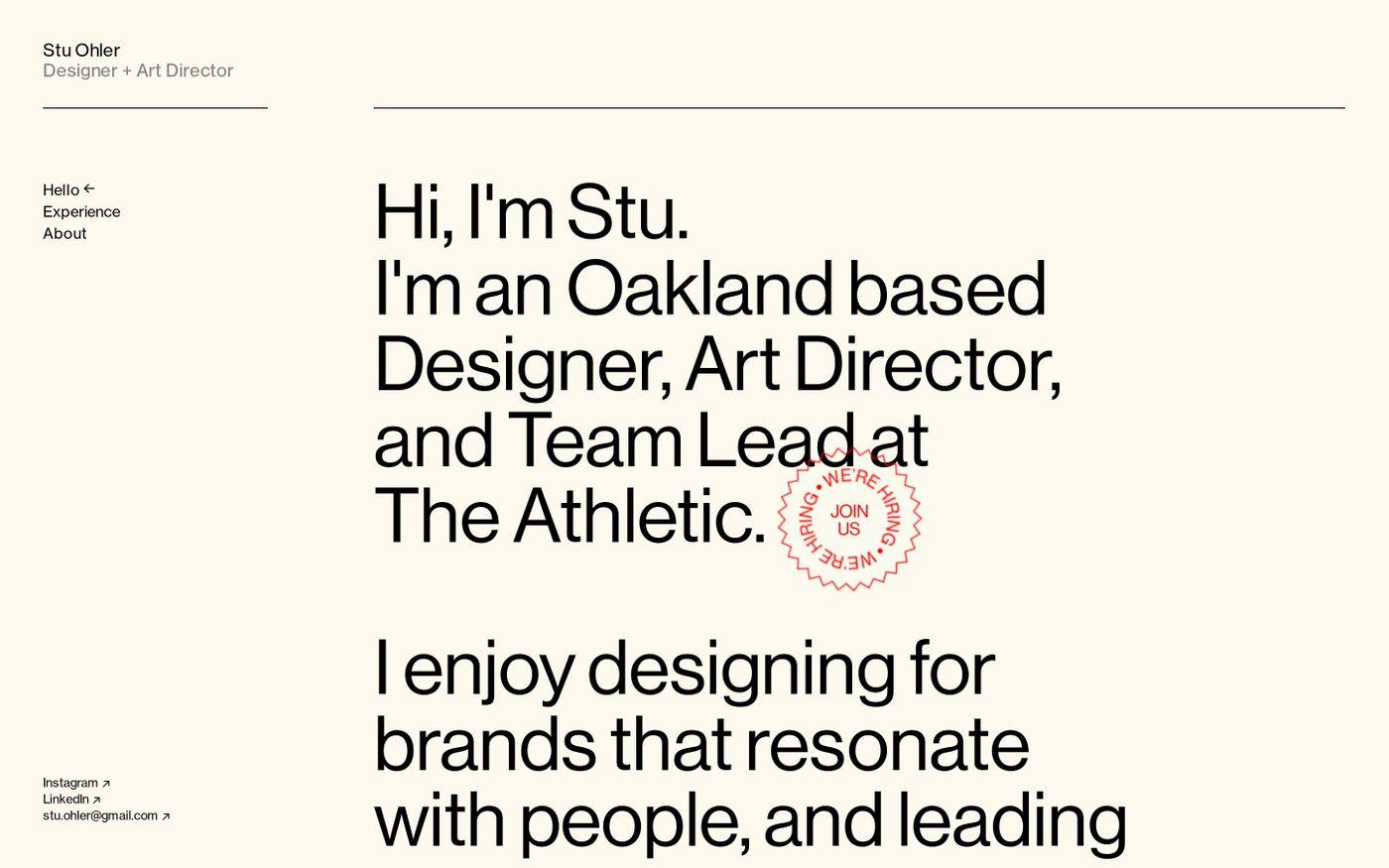 Screenshot of Stu Ohler website