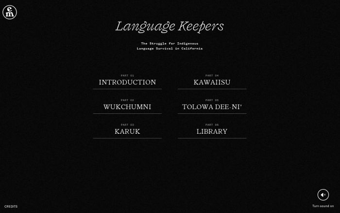Screenshot of Language Keepers – Emergence Magazine website