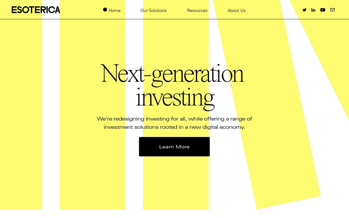 Screenshot of  Esoterica Capital website