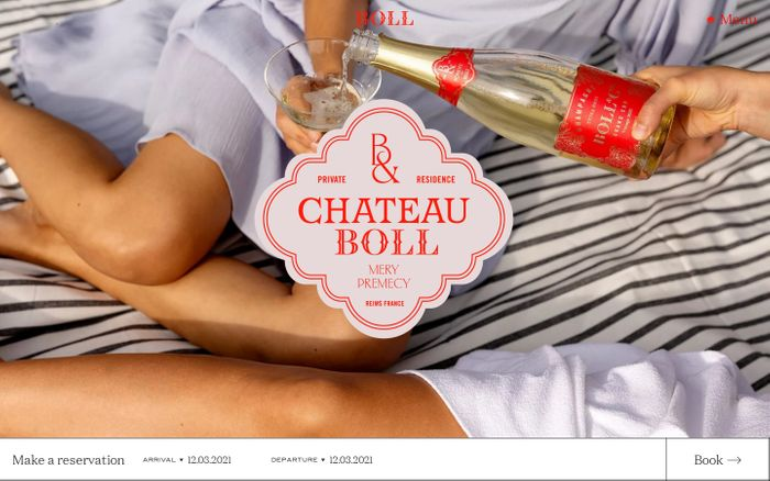 Screenshot of Château Boll website