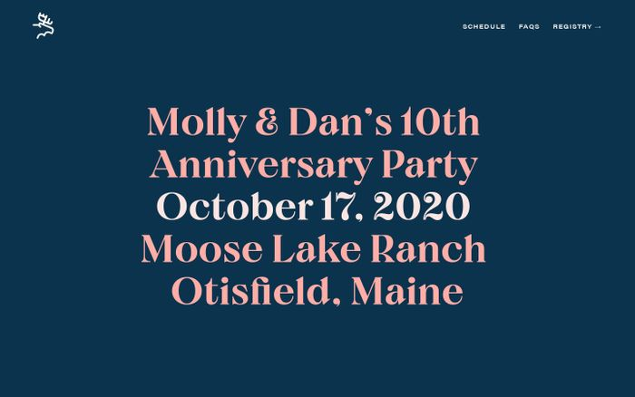 Screenshot of Molly & Dan's 10th Anniversary Party