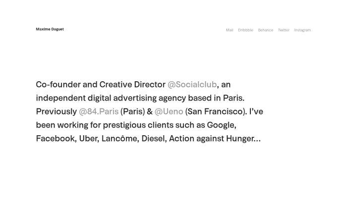 Screenshot of Maxime Daguet – Portfolio website