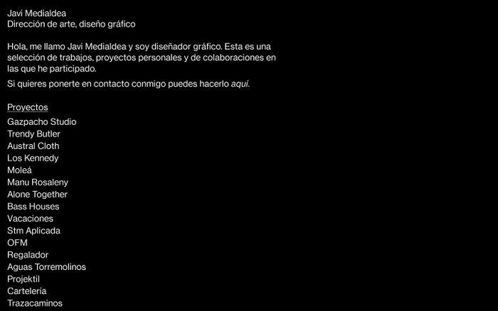 Screenshot of Javi Medialdea – Dirección de arte, diseño gráfico