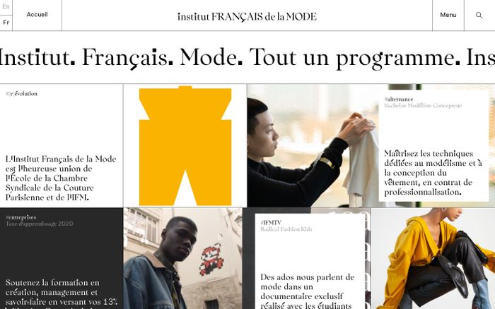 Screenshot of Institut Français de la Mode website