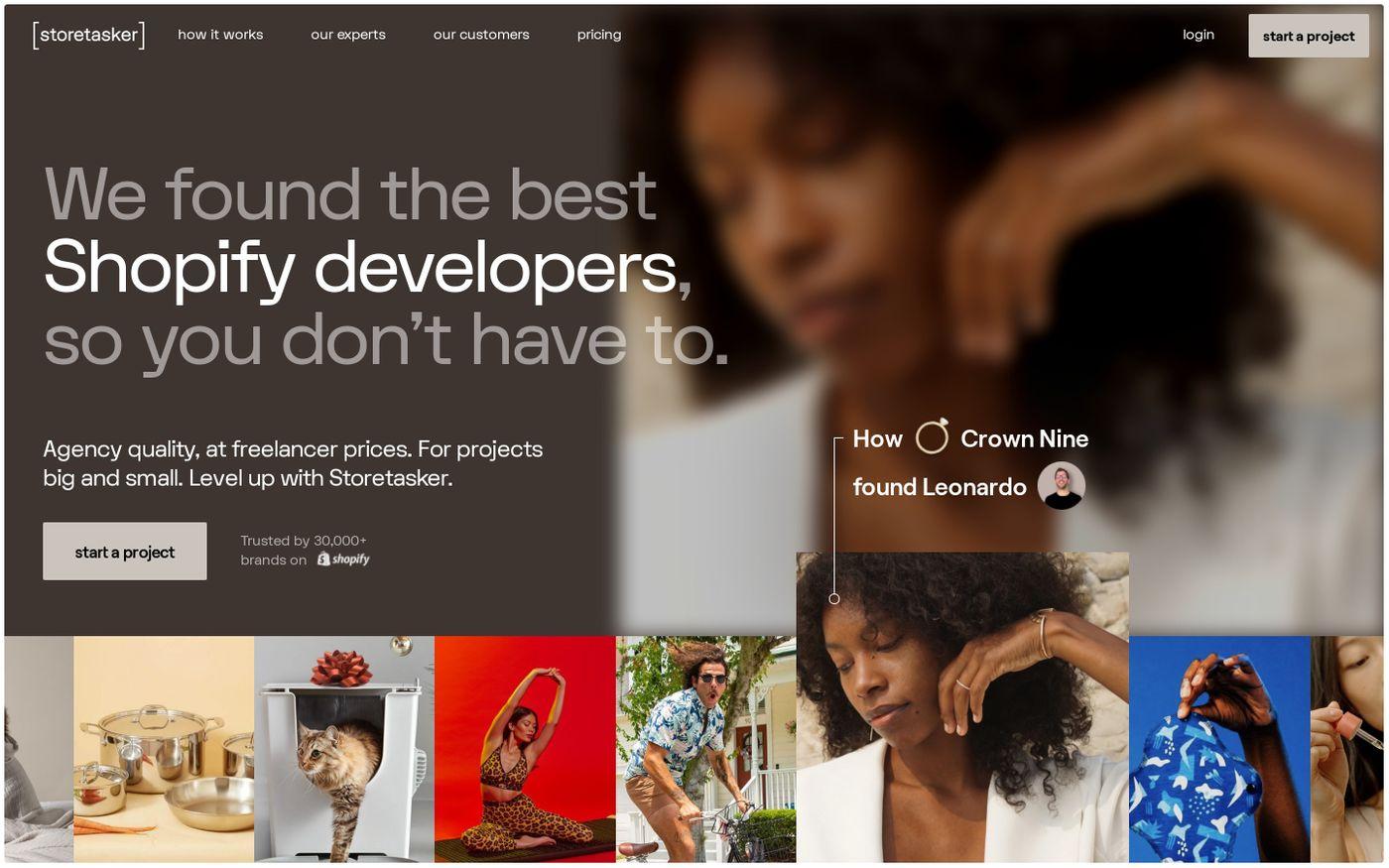 Screenshot of Storetasker website