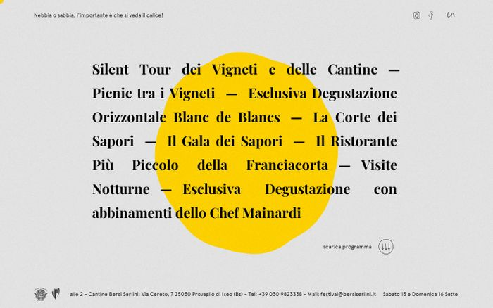 Screenshot of Festival Franciacorta 2018 — Cantine Bersi Serlini