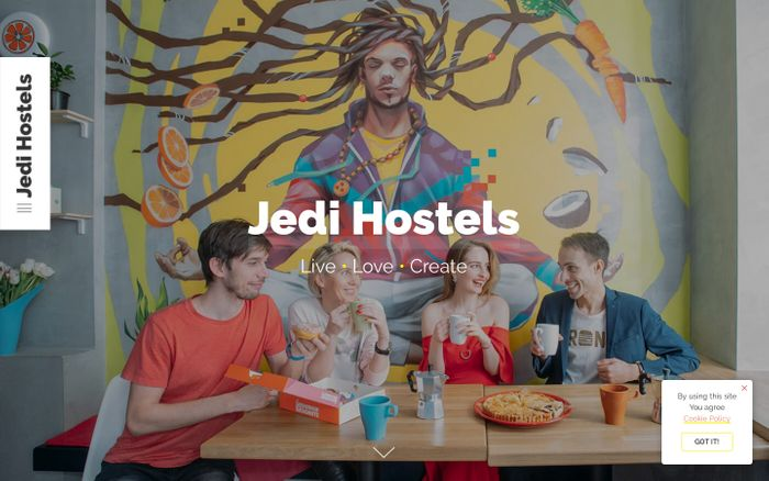 Screenshot of Jedi Hostels - Official WebSite