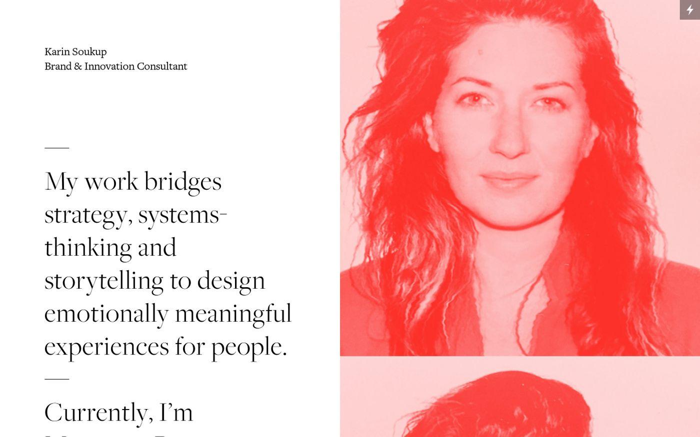 Screenshot of Karin Soukup website