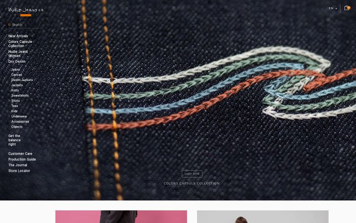 Screenshot of Nudie Jeans® | 100% Organic Denim Collection | Official Site - Nudie Jeans