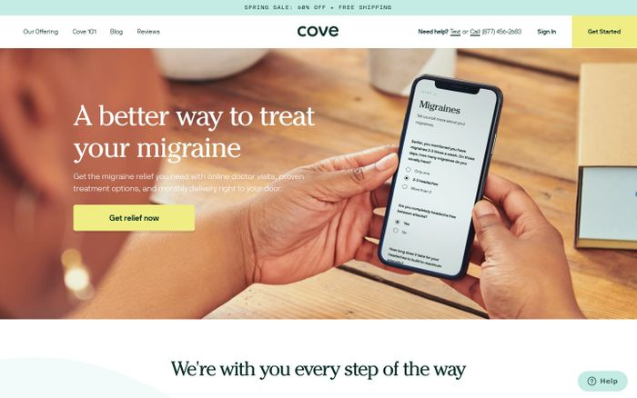 Screenshot of Cove website