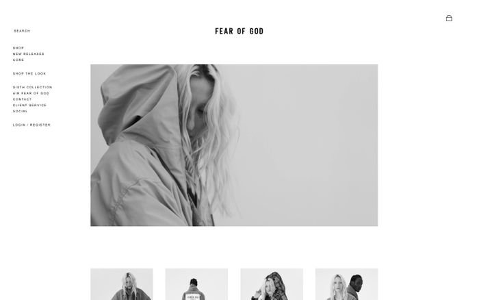 Screenshot of Fear of God website
