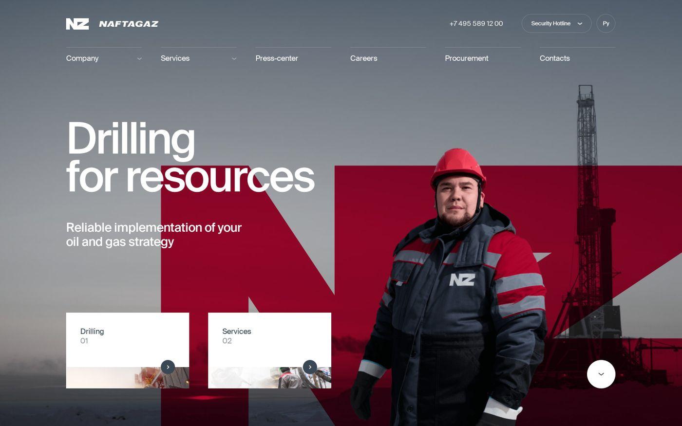 Screenshot of Naftagaz website