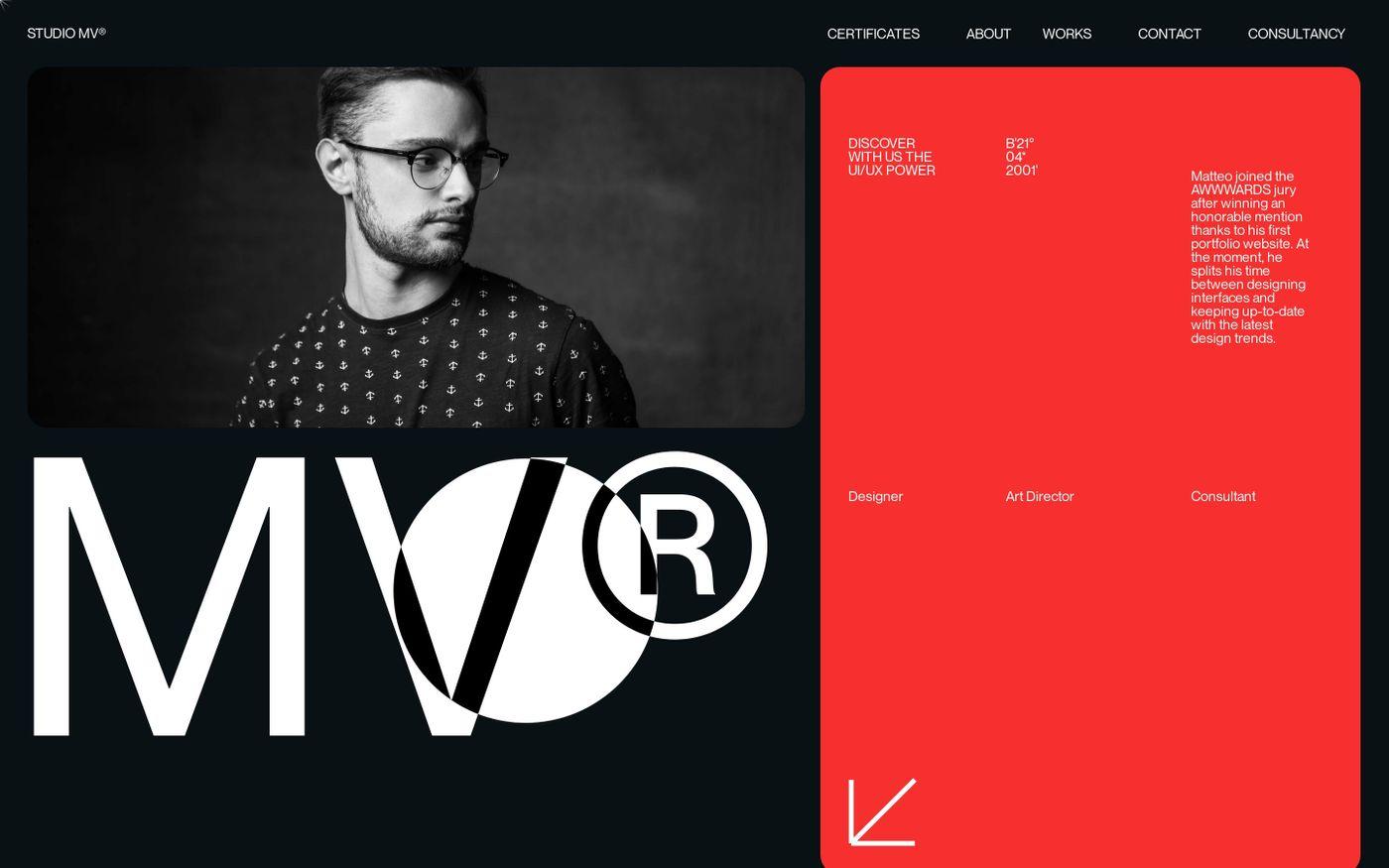 Screenshot of Matteo Valentino website