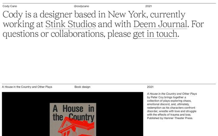 Screenshot of Cody Cano website
