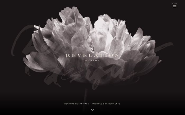 Screenshot of Revelation Design – Bespoke botanicals + tailored environments.