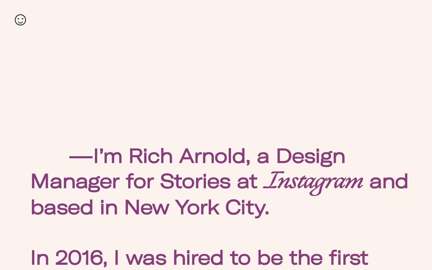 Screenshot of Rich Arnold website