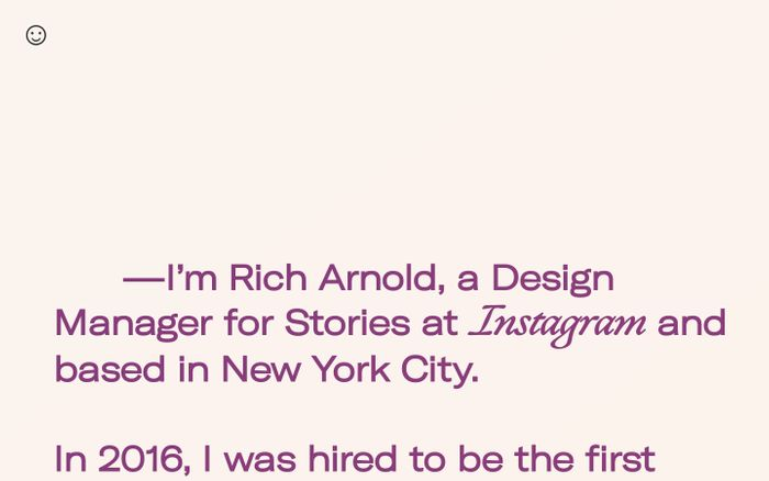 Screenshot of Rich Arnold website