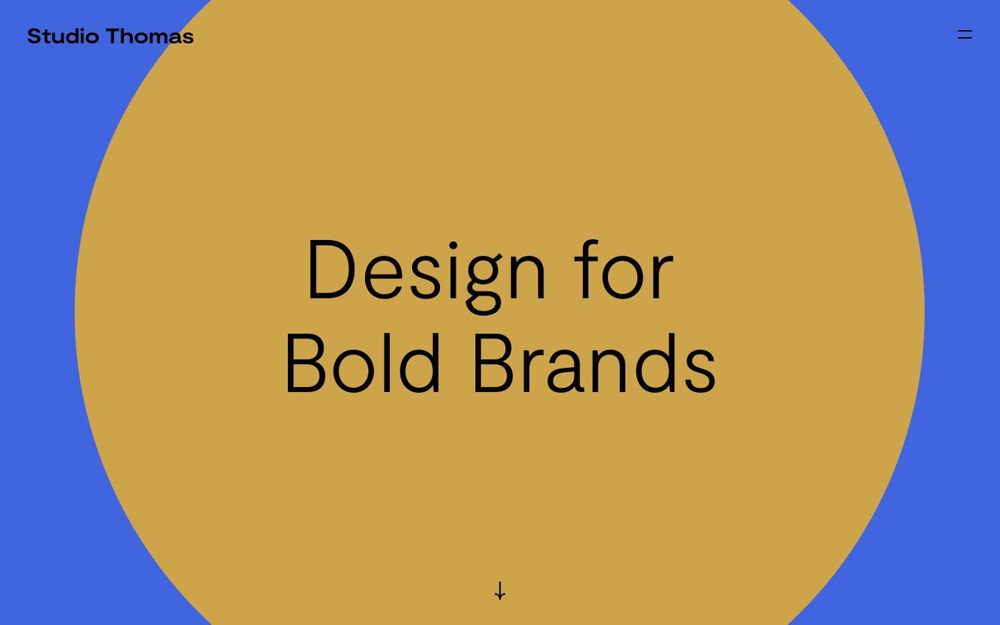 Screenshot of Studio Thomas | Design for Bold Brands | Design and Branding studio website