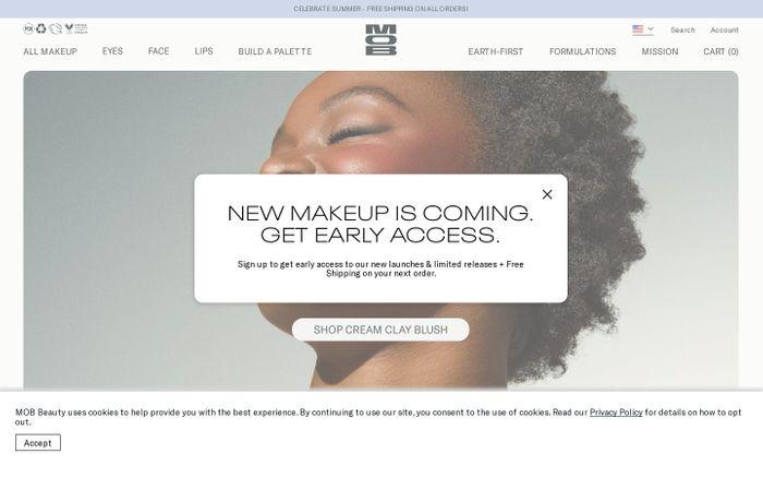 Screenshot of MOB Beauty website