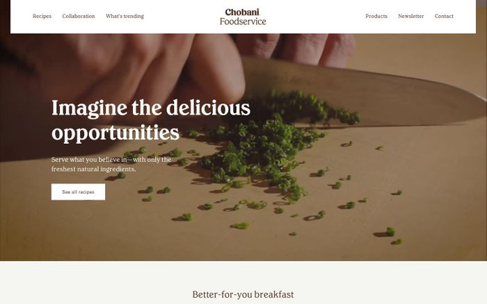 Screenshot of Chobani foodservice website