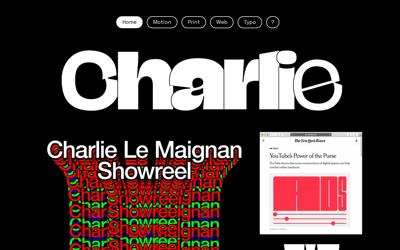 Screenshot of Charlie website
