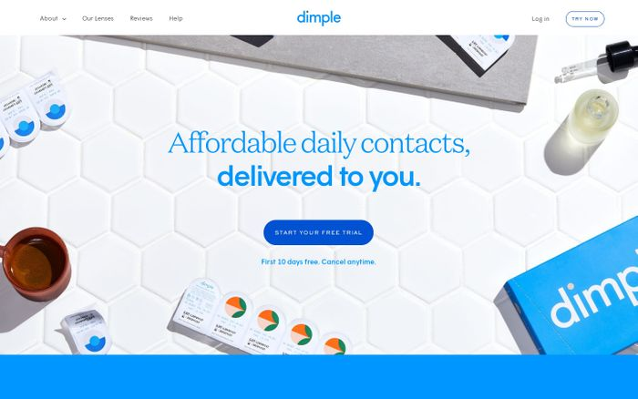 Screenshot of Dimple website