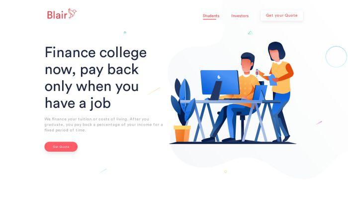 Screenshot of Blair - Better Student Financing