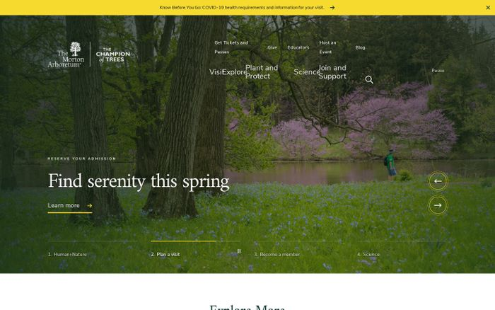 Screenshot of The Morton Arboretum website