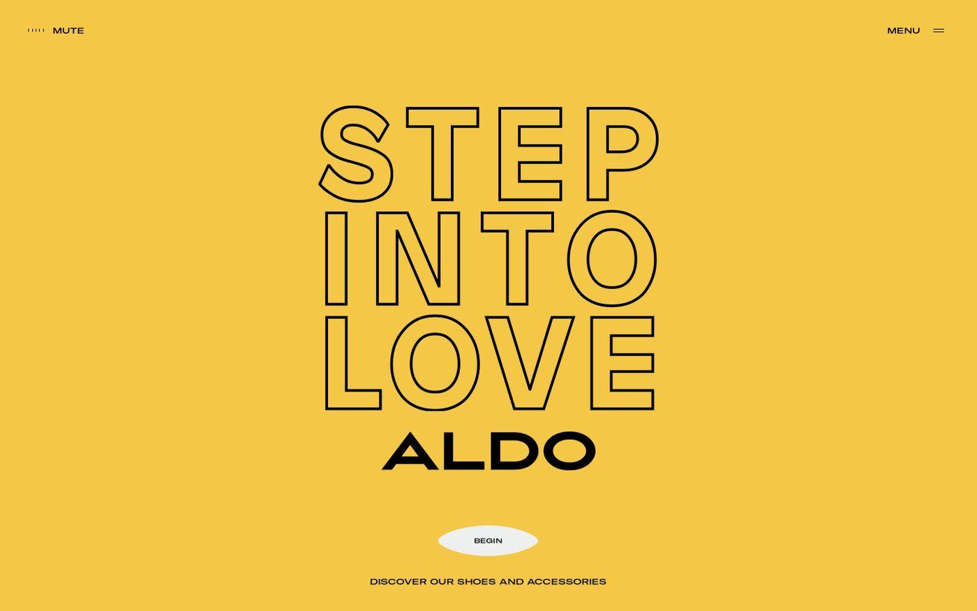 Screenshot of Step Into Love | ALDO UK website