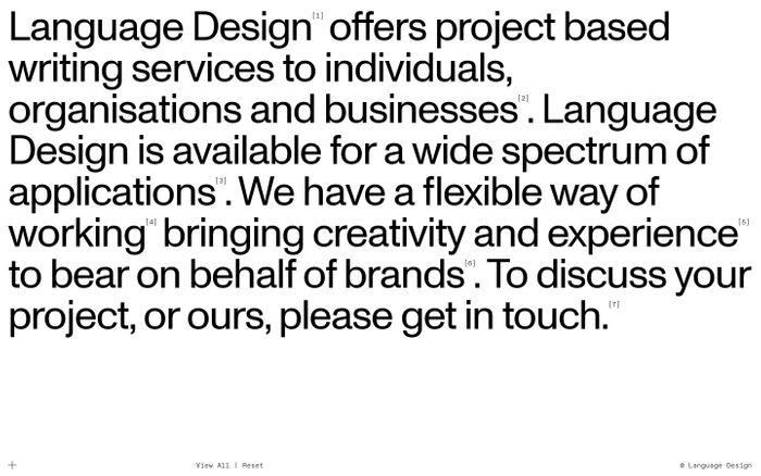 Screenshot of Language Design