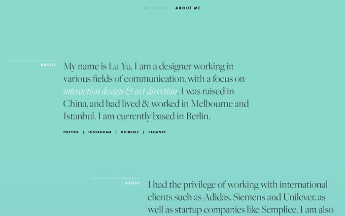Screenshot of Lu Yu website