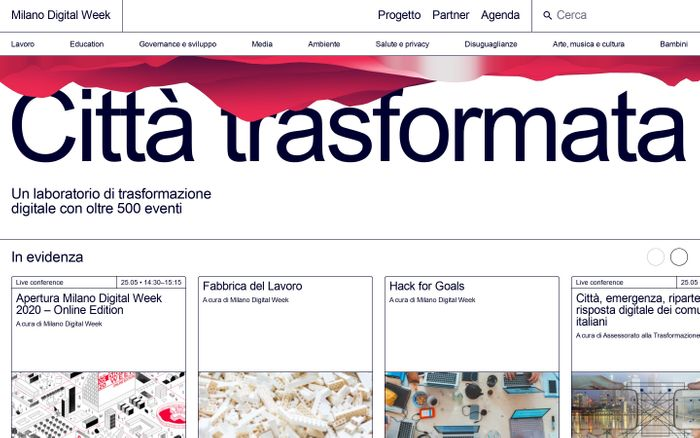 Screenshot of Milano digital week 2020 website