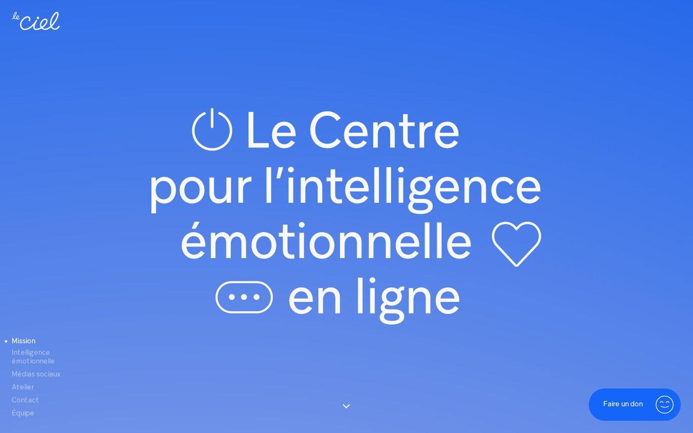 Screenshot of Le CIEL (Centre pour l'intelligence émotionnelle en ligne) website