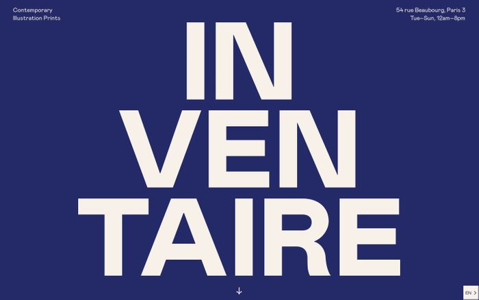 Screenshot of Inventaire website