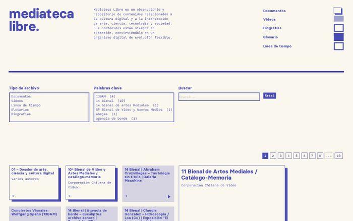 Screenshot of mediateca libre | arte, ciencia, tecnología y cultura digital