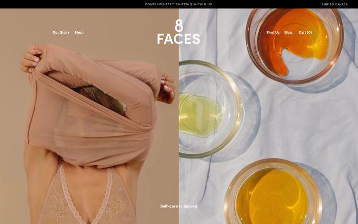 Screenshot of 8 Faces Beauty website