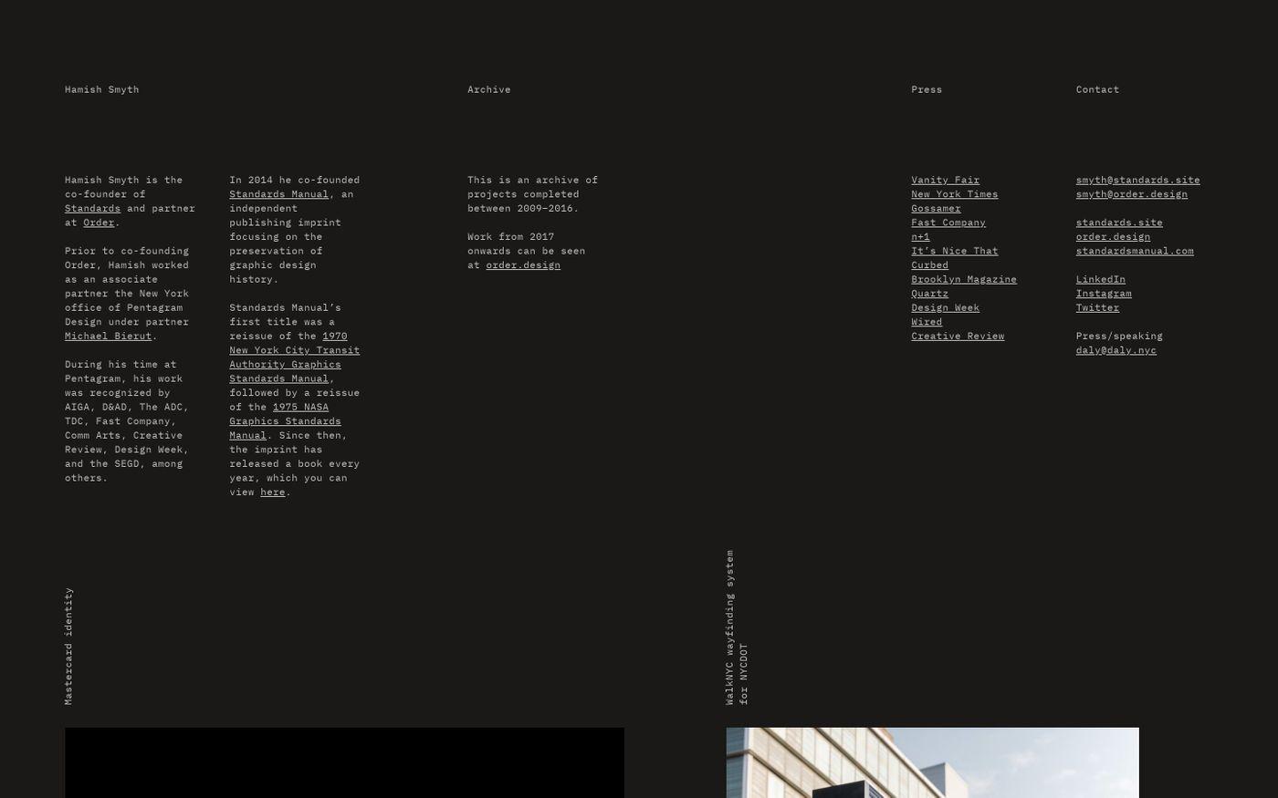 Screenshot of Hamish Smyth website