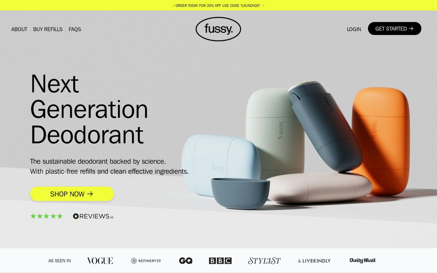 Screenshot of Fussy website
