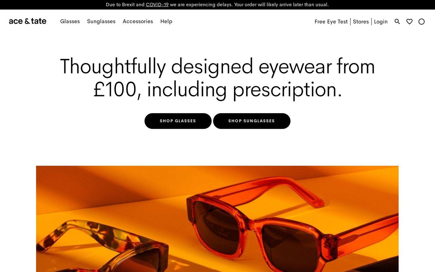 Screenshot of Ace & Tate website
